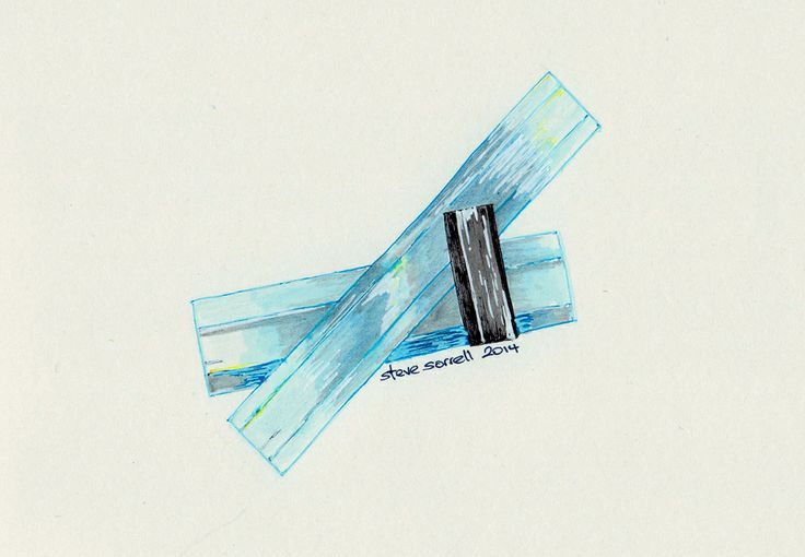 Steve Sorrell Artwork: Aquamarine and schorl tourmaline, Erongo, Namibia. Ink and watercolour on paper. Ex Brandy Zzyzx specimen.