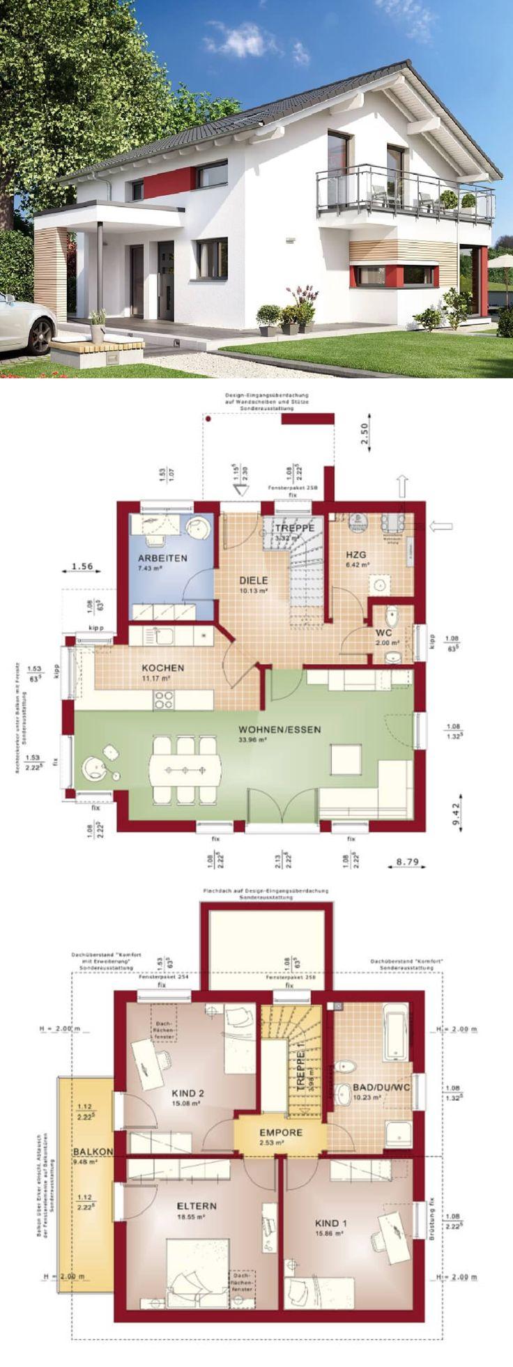 Moderne einfamilienhaus architektur mit satteldach fertighaus celebration 134 v8 bien zenker hausbaudirekt