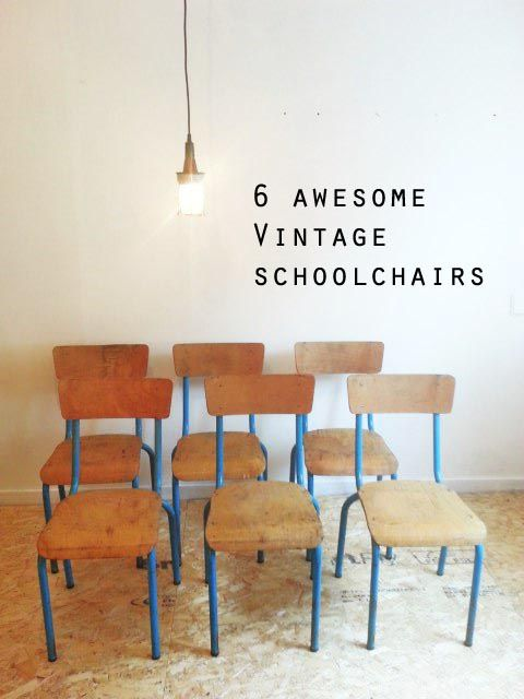 6 beautifull schoolchairs with blue frame