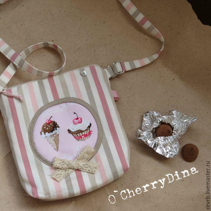 """Купить Сумка """"И сверху - вишенка"""" - сумка, летняя сумка, сумочка, полоска, мороженое, пирожное"""