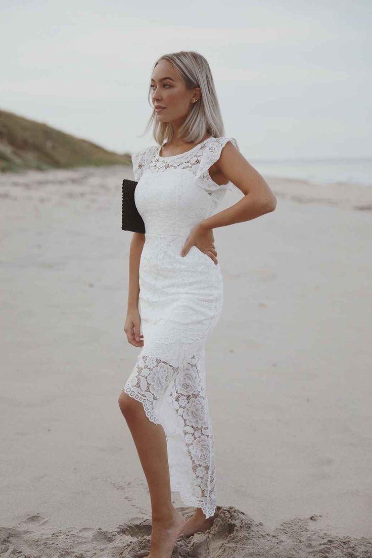 kort vit festklänning