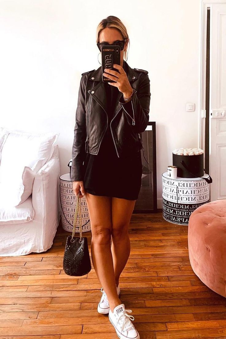 looks con converse Looks Con Converse, Vestido Baby Doll, Dressed To Kill, Street Style Looks, Skirt Outfits, Leather Skirt, Lbd, Skirts, How To Wear