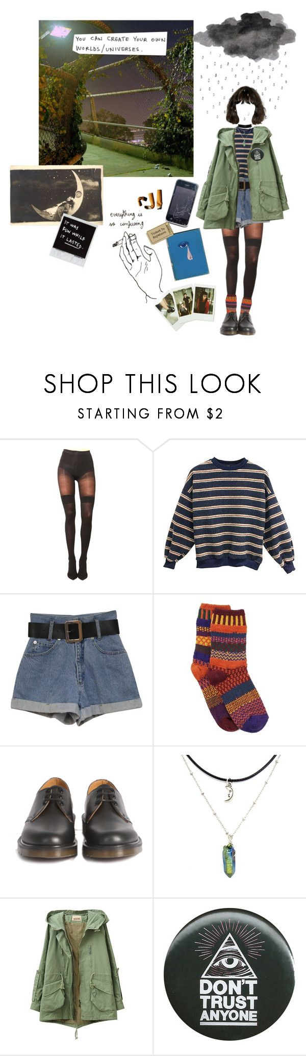 """""""am I transcending human existance?"""" by coffee-and-jazz ❤ liked on Polyvore featuring Pretty Polly, Solmate Socks, Dr. Martens, LIST and Fujifilm"""