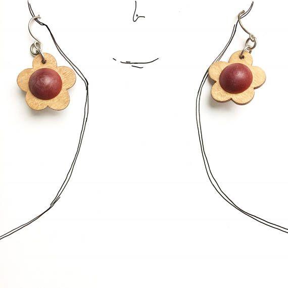 Vintage Aarikka wooden flower earring with original tag Kaija
