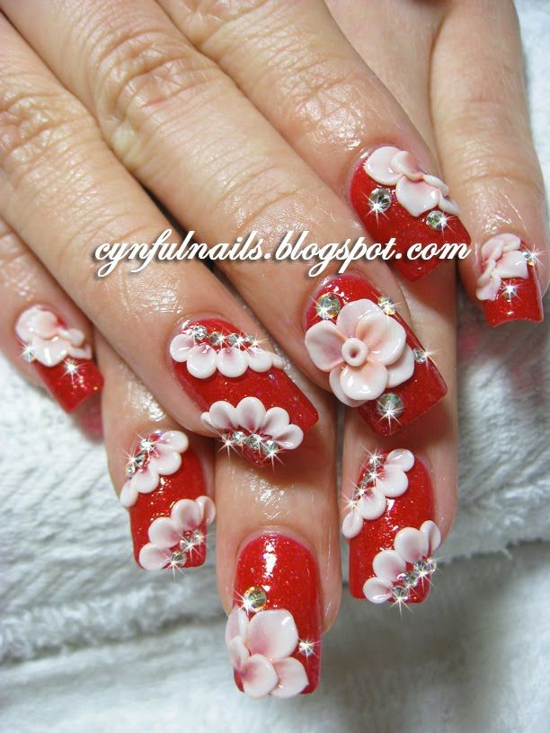 christmas nail art red and white roses