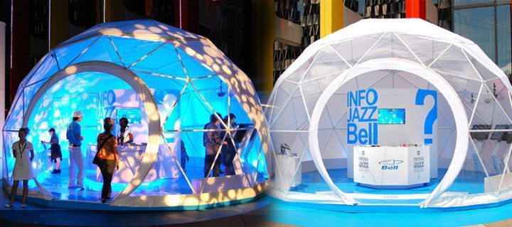 Exhibition Stall Structure : Igloo structure w cool lighting scheme trade show