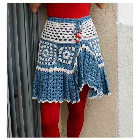 Granny Square Ruffled Crochet Lined Mini Skirt Tunic DIY ...