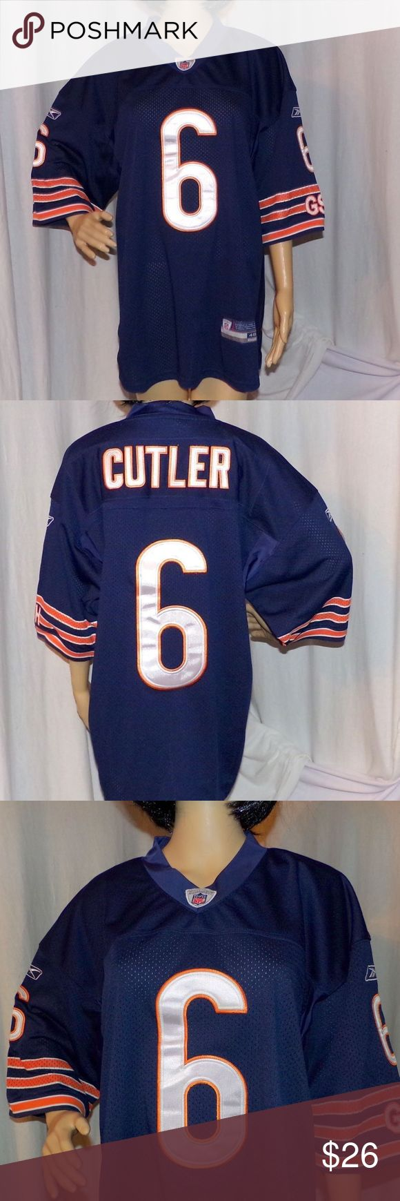 """Chicago Bears Jersey Jay Cutler Size 48 On Field Chicago Bears Jersey, Jay Cutler 6 On Field high-end Home Jersey by Reebok Sz 48. Ok these are the super expensive one's that the players actually wear on the field. It is sized individually not in general size 48. Most other jerseys are silk screened these are sewn on.  Measurements L-33""""/Across the Chest 23"""" Model's Measurements are 32-24-33 BUNDLE 2 or more of our items for a FAIRY SPECIAL PRICE :) Reebok Shirts"""