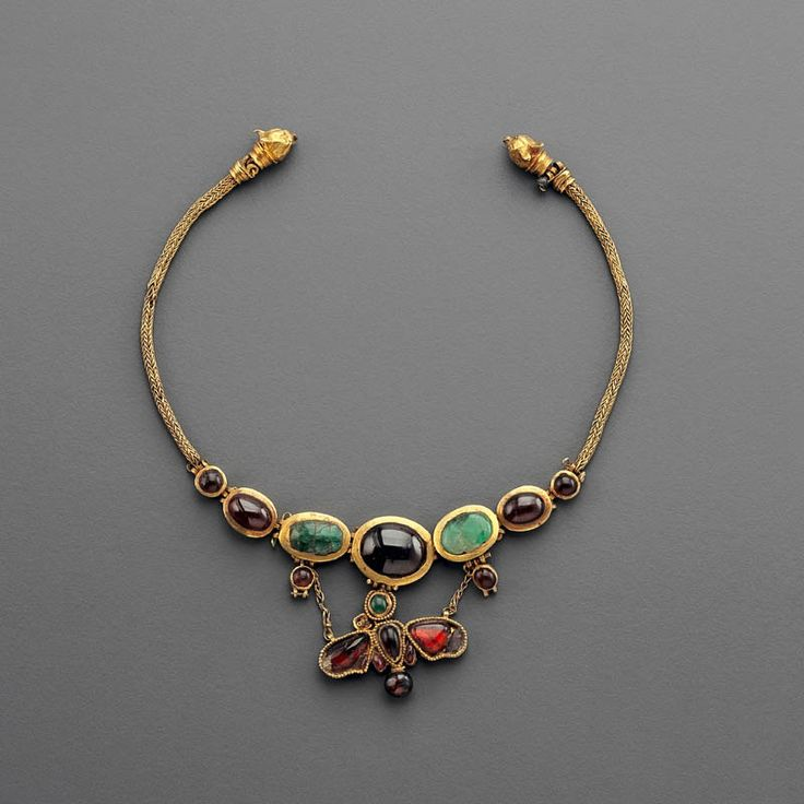 Hellenistic Gold Butterfly Necklace  --  2nd Century BCE  --  Gold, garnet & emerald  --  Via Phoenix Ancient Art