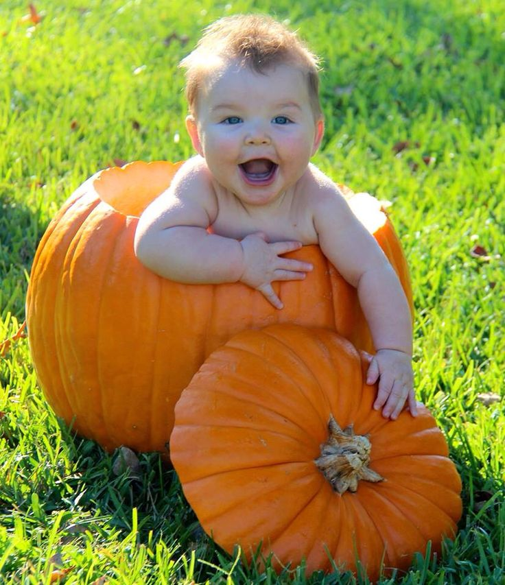 Baby in pumpkin, My sweet boy loving the pumpkin before his first Halloween :-)