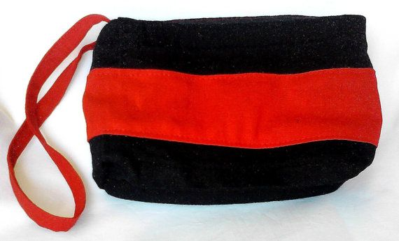 handmade red end black purse with handle by creatingbyVilly