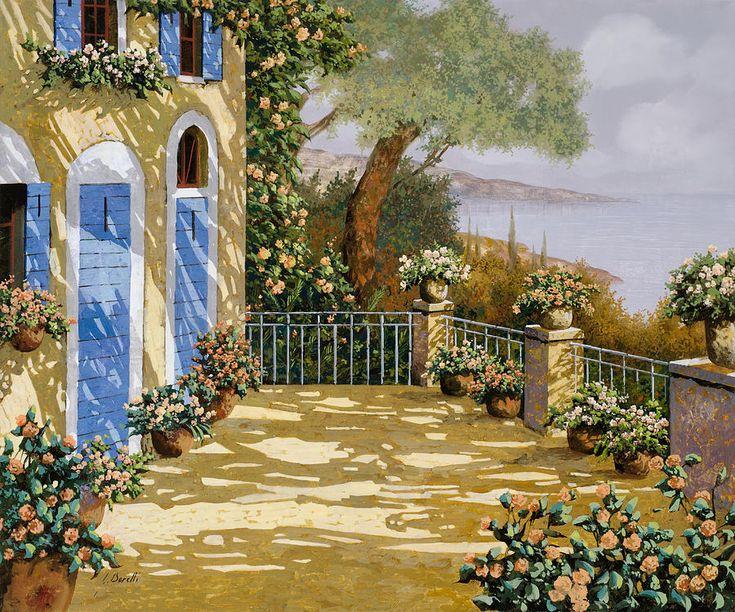 Terrace Painting - Altre Porte Blu by Guido Borelli