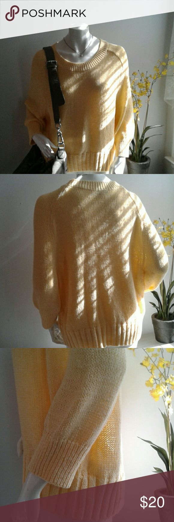 """Gap yellow knit pullover like new XL Sweater is shown on a sz 6 form. It is not a full length sleeve.  Like new condition from smoke free home. Shoulder to hem 25"""", across underarms 23"""" and the shortest length of sleeve underarm toward wrist is 10"""" Price firm, no offers please. GAP Sweaters Crew & Scoop Necks"""