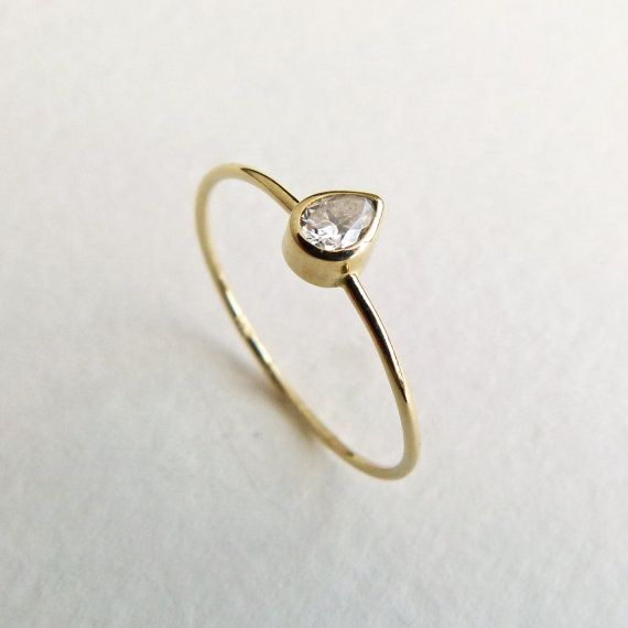 Pear Diamond Engagement Ring - Diamond Gold Ring - 14k Solid Gold