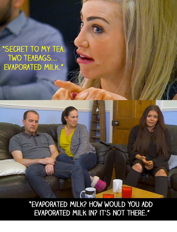 "When a character on First Dates said that they liked to make tea using some evaporated milk. | 18 Times ""Gogglebox"" Failed So Much It Actually Won"