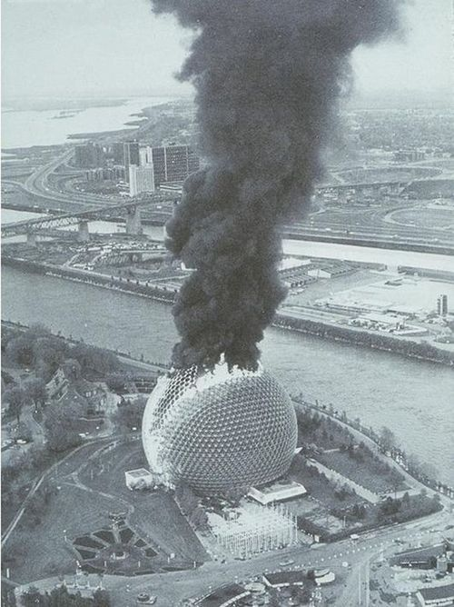 Photo of the Montréal Biosphère in flames Buckminster Fuller, photography by Doug Lehman 1976
