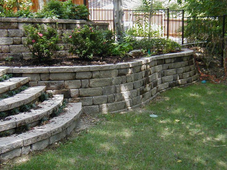 Back Yard.: Stones Step, Backyard Ideas, Backyard Landscape, Backyard Design, Front Yard, Landscape Ideas, Back Yard, Retaining Wall, Wall Ideas