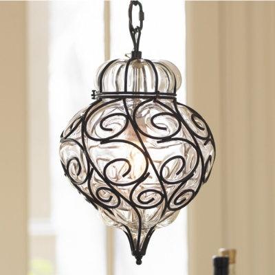 stylish mediterranean look: marrakesh onion bulb pendant - handblown glass inside sculpted metal frames - such graceful curves