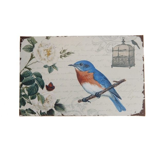 http://www.sassandbelle.co.uk/Vintage Large Metal Box Blue Bird With Butterfly