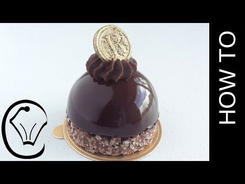 (276) Shiny Mirror Glaze Mousse Dome with Crispy Chocolate Base and Ganache Topping - YouTube