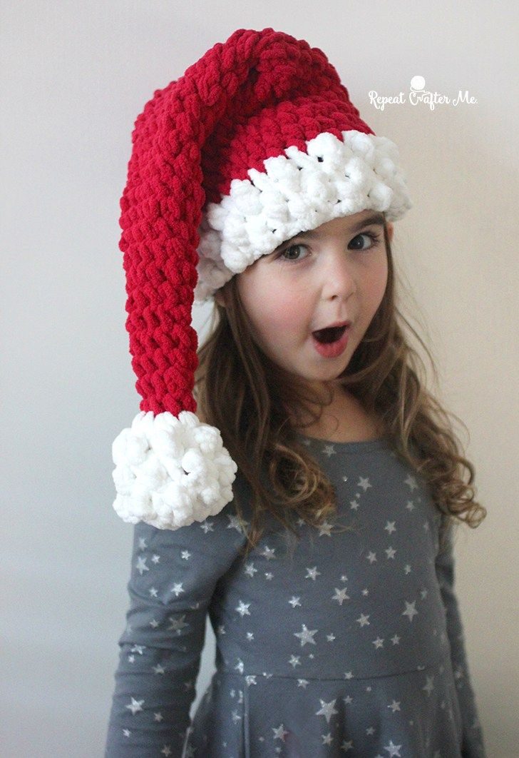 Crochet Santa Hat with Bernat Blanket Yarn