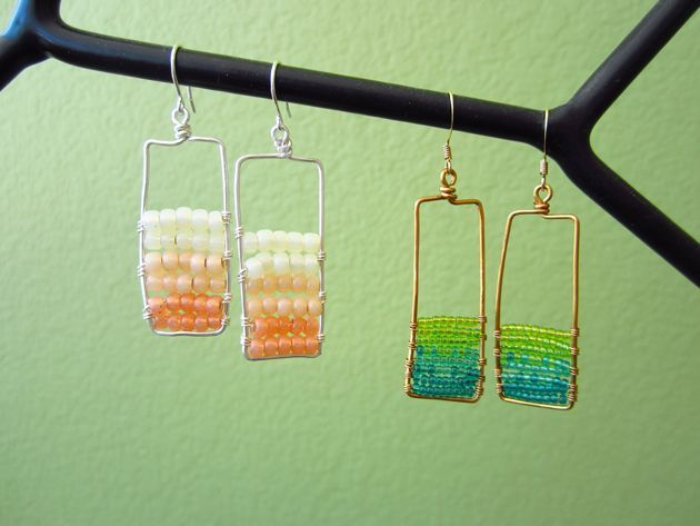 Free bead and wire jewelry Tutorial: Framed Ombre Earrings, DIY instructions