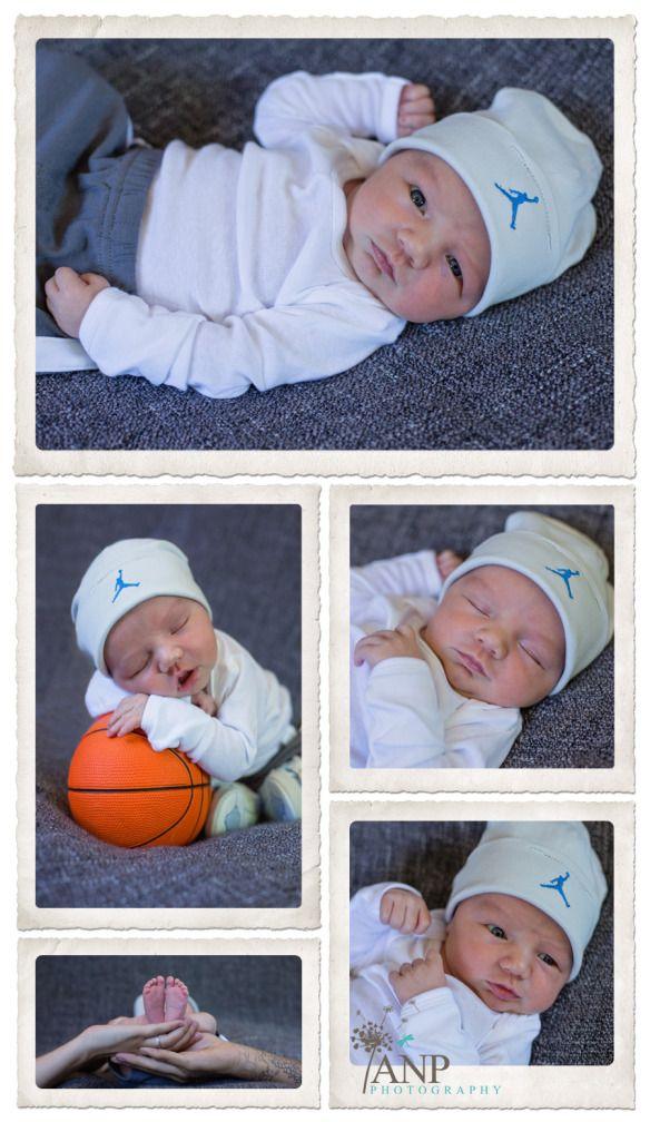 newborn baby boy with basketball