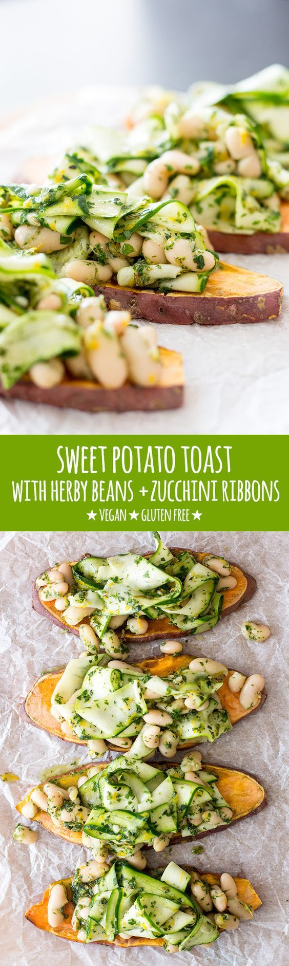 Sweet potato toast topped with cannellini beans and zucchini ribbons tossed in a beautifully balanced herb and lemon dressing makes a tasty and simple meal. #vegan #vegetarian #glu| healthy recipe ideas @xhealthyrecipex |