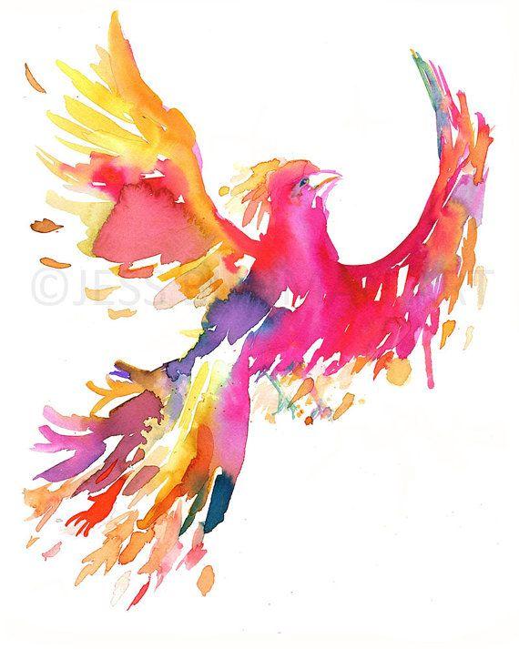 Phoenix Watercolor Painting Print Phoenix Print by ArtbyJessBuhman