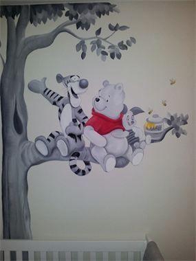 Debzys muurschildering - Winnie de Pooh Z/W