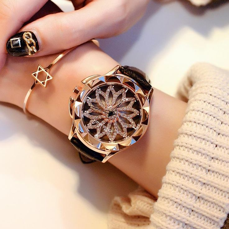 Watches Lady Rotation Dress Watch brand Real Leather Band Big Dial Bracelet Wristwatch Crystal Watch