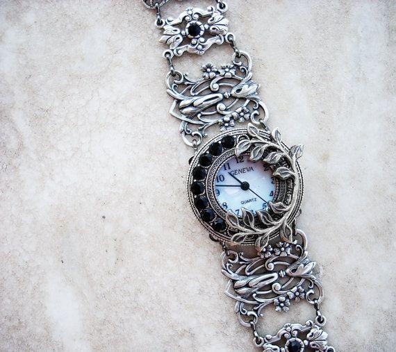 Silver watch bracelet filigree ladies wrist watch by Aranwen, €95.00