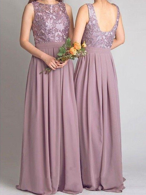 Timeless Bridesmaid Dress -Mauve A-Line Jewel Neck Dress with Lace