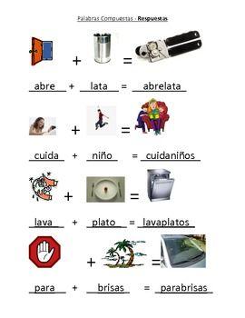Spanish Compound Words Center (Palabras Compuestas)