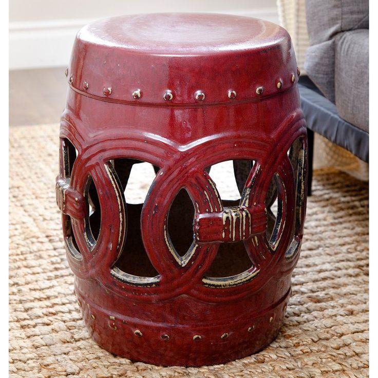 Outdoor Abbyson Living Yasmine Ceramic Garden Stool Red