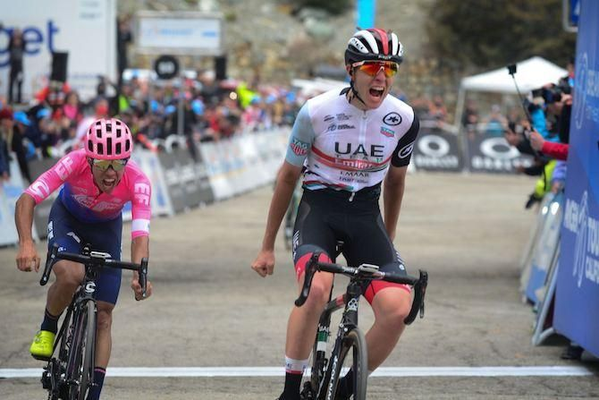 Tadej Pogacar Gets The Better Of Sergio Higuita To Win Stage 6 Of The Tour Of California On Mount Baldy Usa National Team California Segafredo