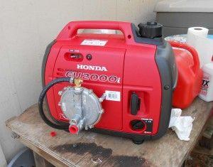 A Honda eu2000 converted to run on tri fuel, natural gas, propane or gasoline