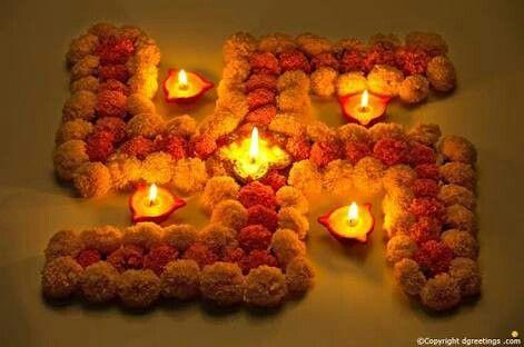 Swastik with flowers Rangoli