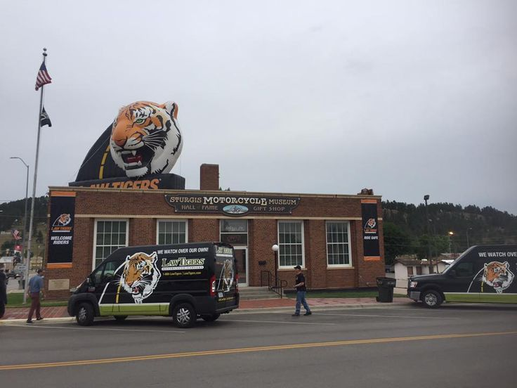 Law Tigers getting set up at the Sturgis Motorcycle Museum and Hall of Fame