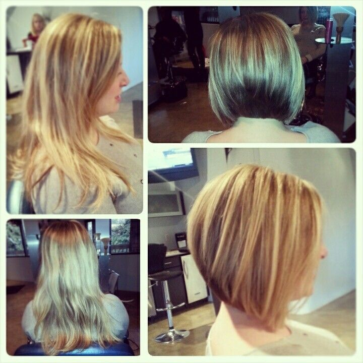 Before And After Long To Inverted Bob Studio Hz