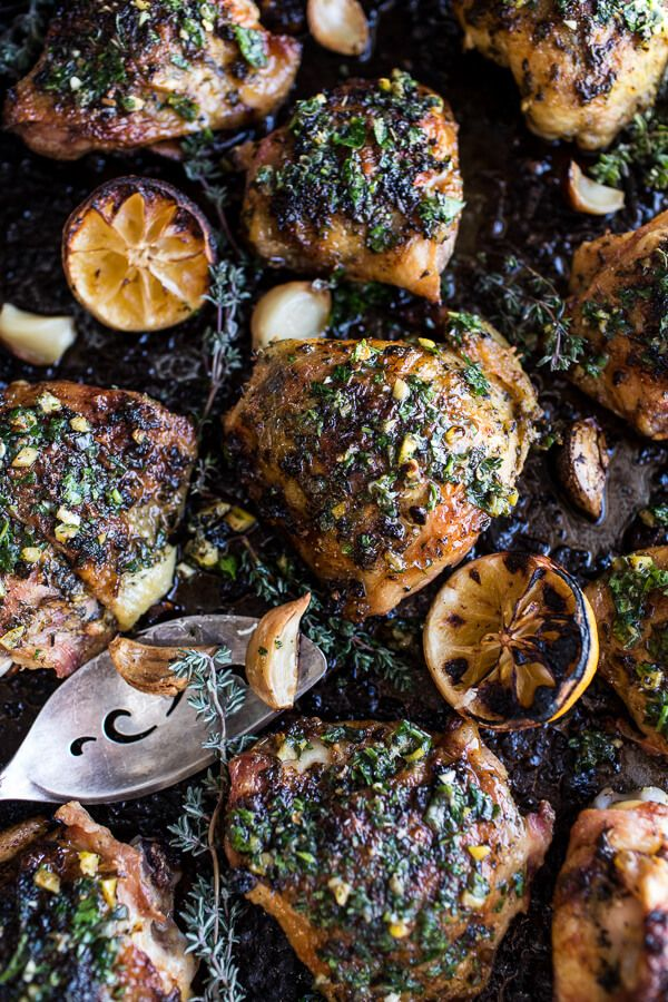 Garlic Butter Roasted Chicken Thighs with Charred Lemon Salsa Verde + Asparagus | halfbakedharvest.com