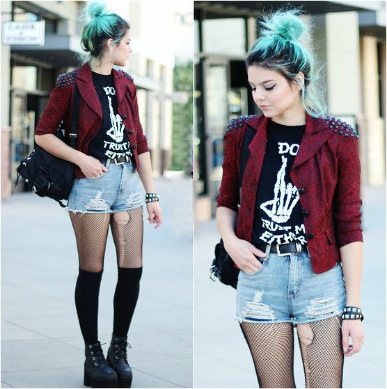 Unif I Don't Trust Me Either, Style Moi Distressed High Waist Shorts, T.U.K. Nosebleed Boots, Prada Backpack