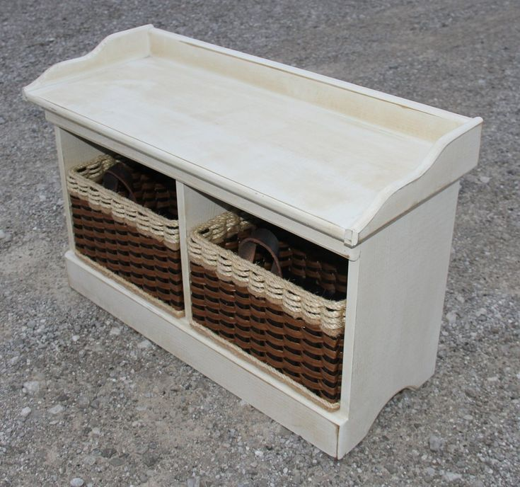 Small Wood Bench w/cubby baskets