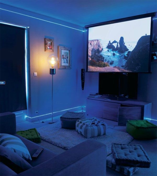 Cinema In The Living Room A Felted Atmosphere With Led Lighting Led Lights Living Room Living Room Lighting Apartment Living Room