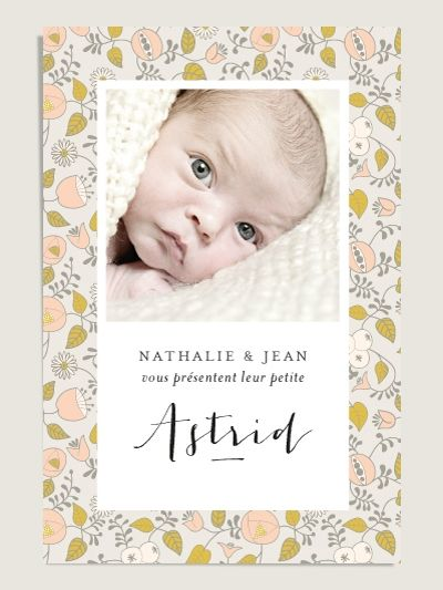 Faire-part de naissance Aurore - Birth announcement for boys and girls - by Elizabeth Olwen & Dioton - available at www.dioton.fr