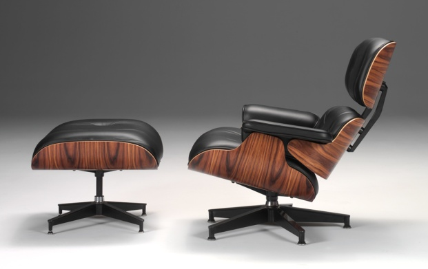 Eames lounge chair and ottoman in palisander wood.