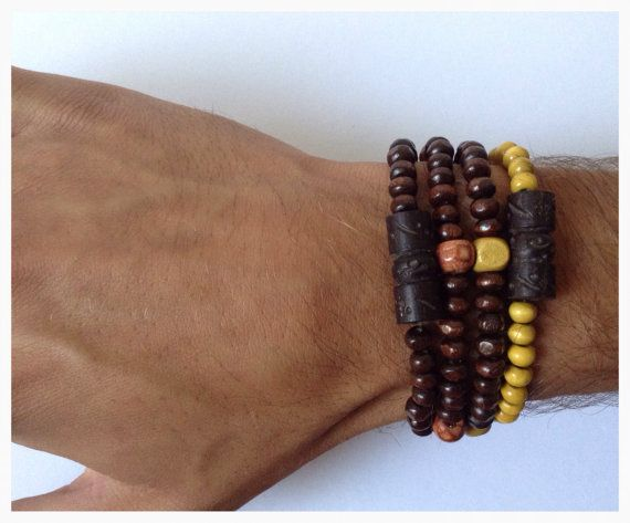 Dark Brown Men's Bracelet Wood Bracelet Stack by DanusHandmade