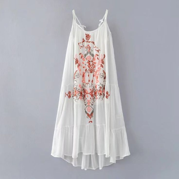 ==> [Free Shipping] Buy Best Summer 2017 Women White Sexy Spaghetti Maxi Dresses Embroidery Floral Sleeveless Patchwork Vestidos Casual Two Piece Beach Dress Online with LOWEST Price | 32807446961