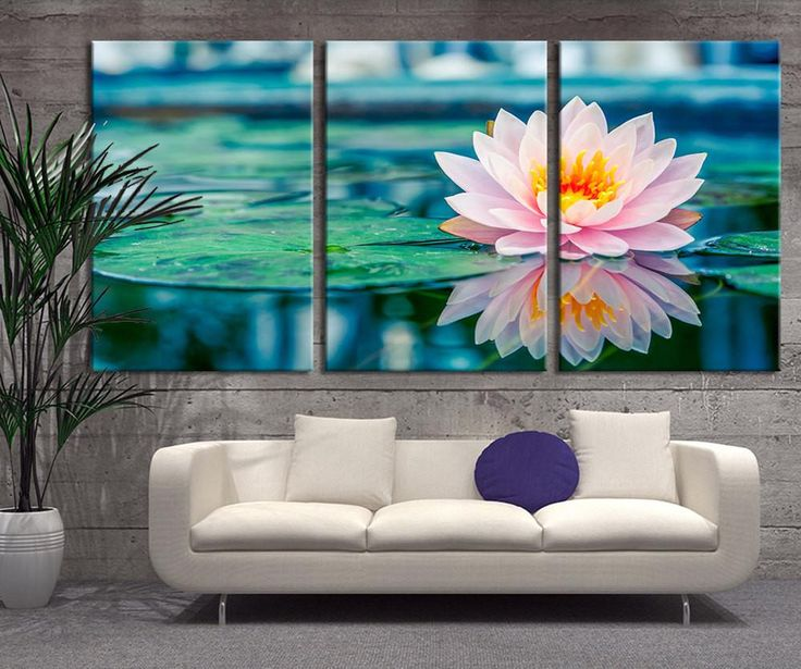 Oversize Wall Art - Lotus Flower in Lake Canvas Print - Lily Flower Large Wall Art Canvas Print - 3 Panel Large Canvas for Wall Decor - MC35