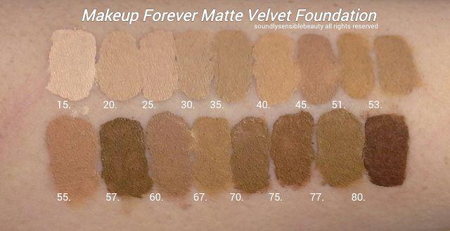 Makeup Forever Mat Velvet Foundation Shades